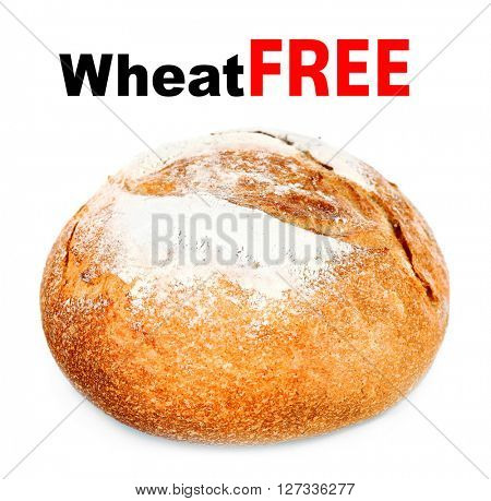 Fresh bread isolated on white. Health and diet concept