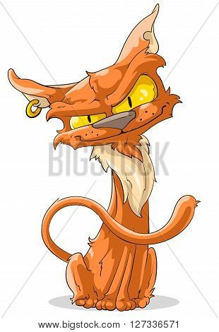 A vector illustration of sly cartoon red cat with piercing