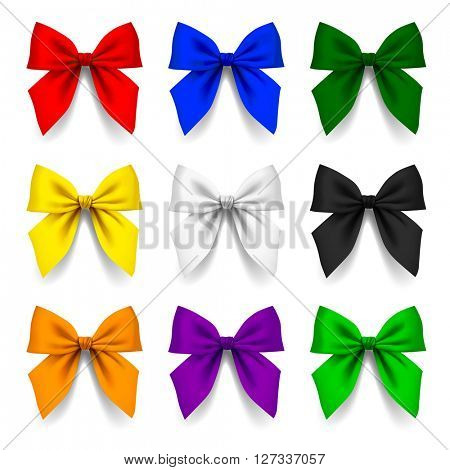 Set of bows in different colors isolated on white background. Contains the Clipping Path. 3D illustration