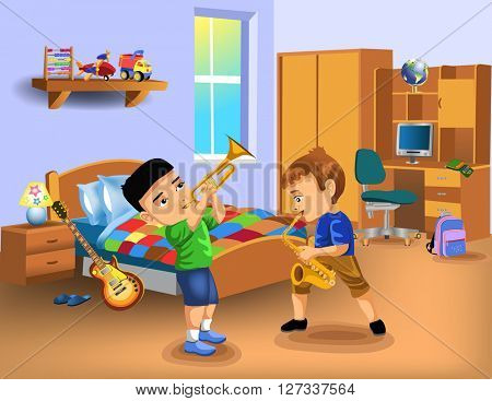 kids bedroom with two boys playing instruments