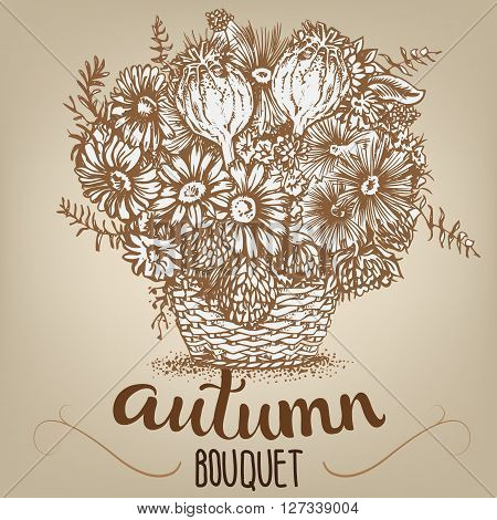 Drawing of autumn bouquet in a basket