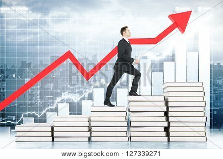 Education concept with businessman climbing book stairway with business chart and red arrow in the background. 3D Rendering