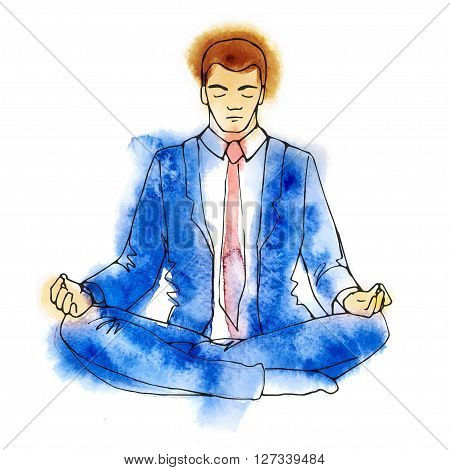 Businessman thinking during meditation, cartoon vector illustration, business man meditating in lotus pose with eyes closed