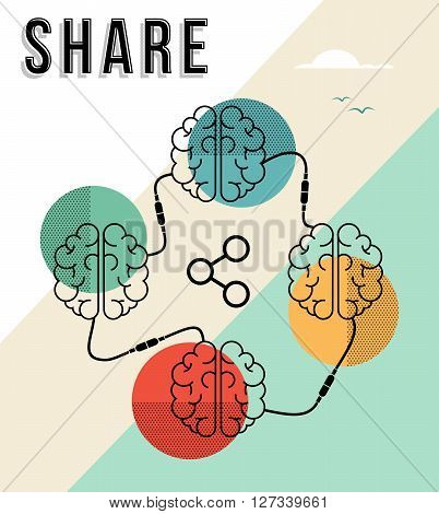 Share concept illustration human brains share knowledge and information in modern flat line art style. EPS10 vector.