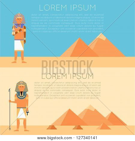 Vector image of the Set of egyptian pharaon banners