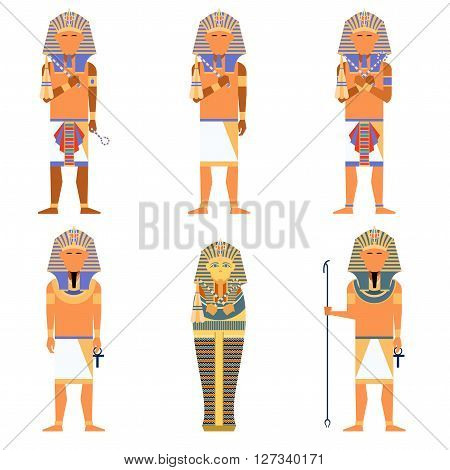 Vector image of the set of egyptian Pharaons