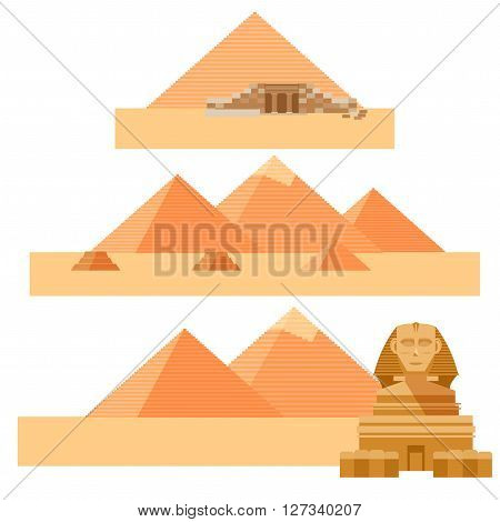 Vector image of the set of piramides and the Sphinx of Egypet