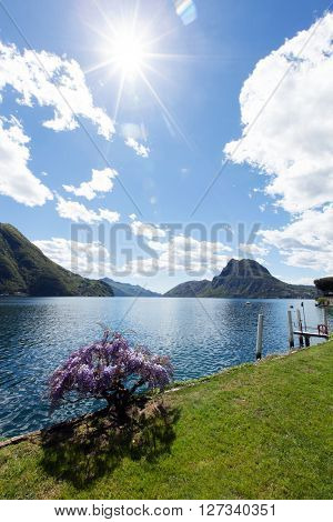 View of the Lugano lake in the spirng