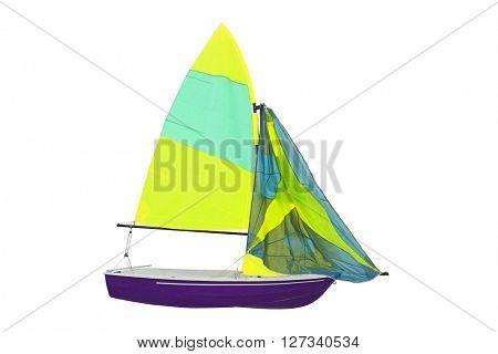 sailboat under the white background
