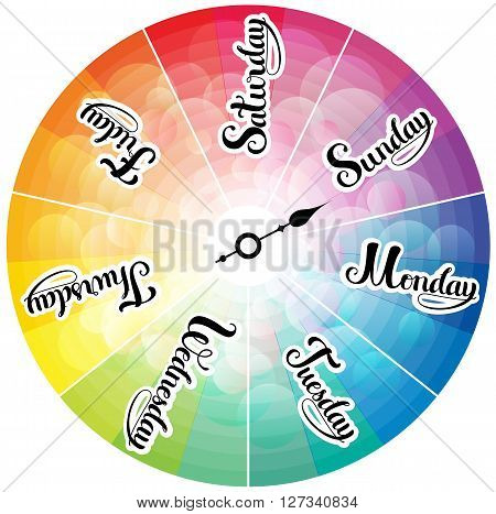 Week days rainbow colored clock, illustration with  lettering