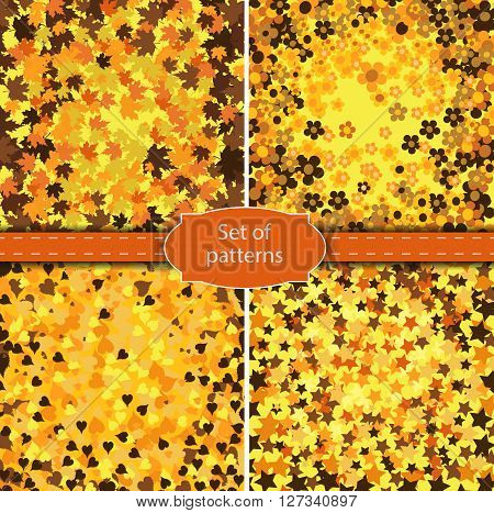 Set of  four backgrounds gold colored  colored