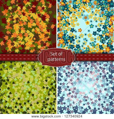 Set of four different backgrounds seasons theme