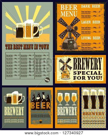 Design set contains beer menu design with beer mugs, brewery and different beer labels.