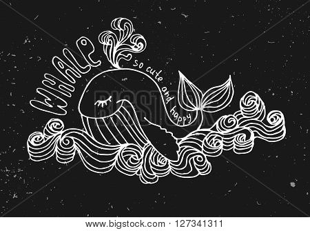 whale cute cartoon illustration, isolated on black background