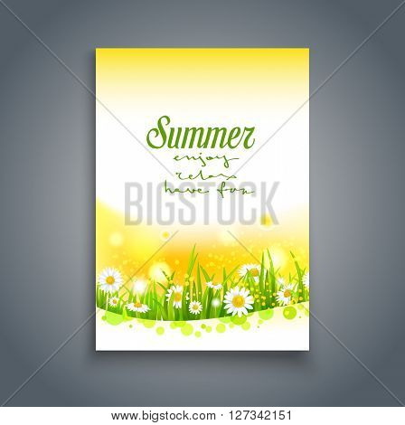 Summer nature template. Positive season card. Nature template for design banner, invitation, ticket, leaflet, card, poster and so on. Place for text.