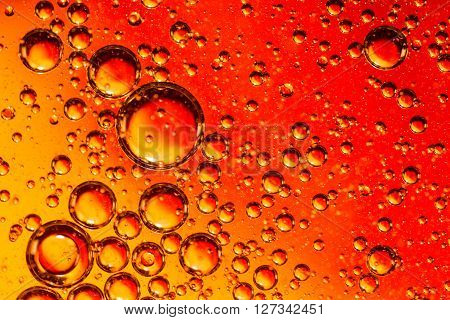 Red And Orange Coloured Oil On Water Abstract