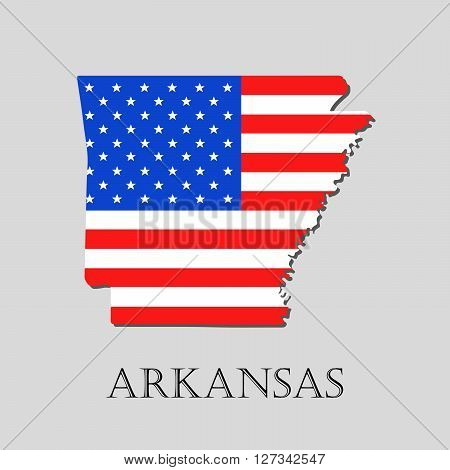 Map of the State of Arkansas and American flag illustration. America Flag map - vector illustration.
