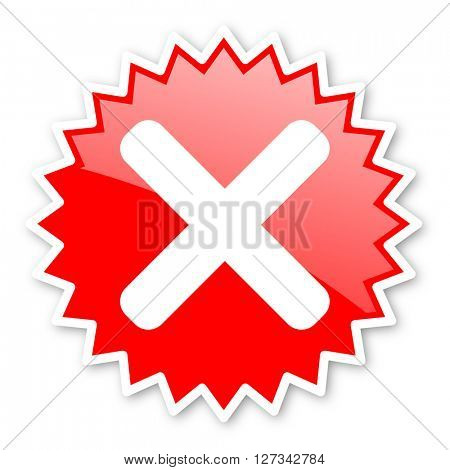 cancel red tag, sticker, label, star, stamp, banner, advertising, badge, emblem, web icon