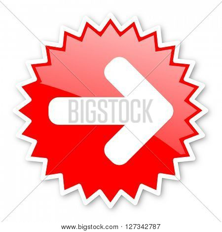 right arrow red tag, sticker, label, star, stamp, banner, advertising, badge, emblem, web icon