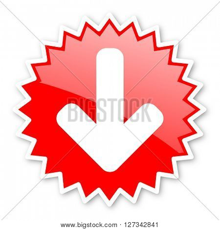 download arrow red tag, sticker, label, star, stamp, banner, advertising, badge, emblem, web icon