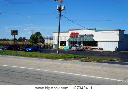 PLAINFIELD, ILLINOIS / UNITED STATES - SEPTEMBER 20, 2015: One may purchase hardware and supplies at the Ace Hardware Store near downtown Plainfield.