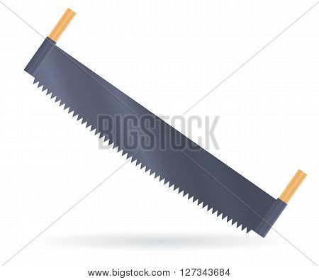 Two man saw with wooden handle, vector illustration isolated on white
