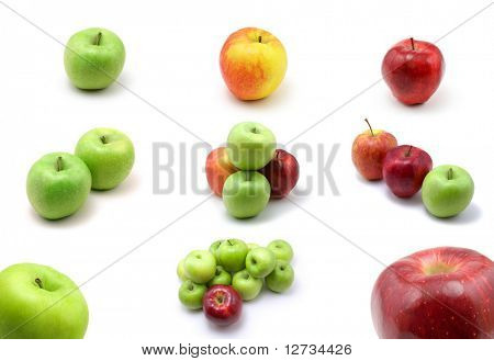 large page of apples on white background