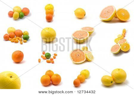 large page of citrus fruits on white background