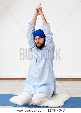 Young Yogi  Man Doing Extension