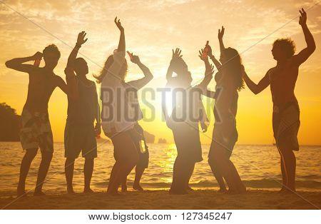 People having fun on the beach.