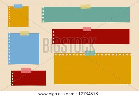 Bright colorful cut out blank notebook paper are stuck on brown background.