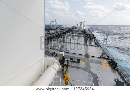 Tanker deck with facilities at day time
