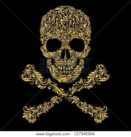 Floral gold pattern of form skull with crossbones on the black background