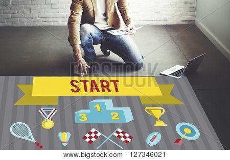 Start Competition Contest Winner Pedestal Concept