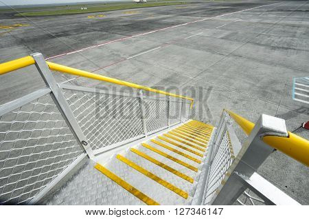 steel stairs of airplane