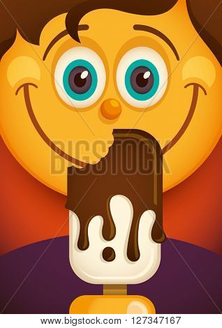 Comic boy with ice cream. Vector illustration.