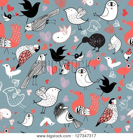 Seamless graphic pattern of different birds on a blue background