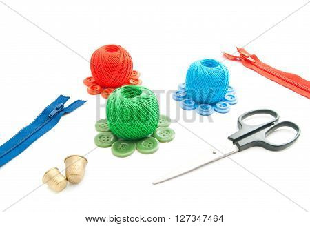 Thimbles, Scissors, Spools Of Thread, Zipper And Buttons