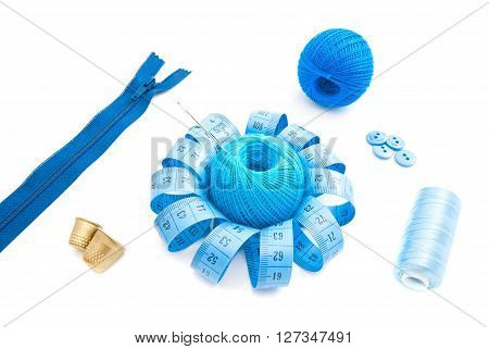 Different Blue Items For Needlework