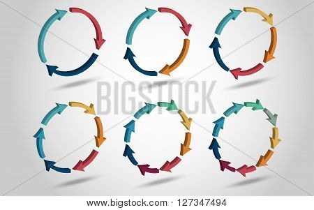 3D circle arrows for infographic. Template for diagram, graph, presentation and chart. Business concept with 3, 4, 5, 6, 8, 9 options with shadow
