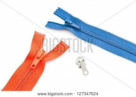 Two Colored Zippers On White