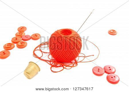 Spool Of Thread, Thimble And Red Buttons
