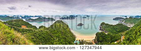 Panorama from the top of Cat Ba Island