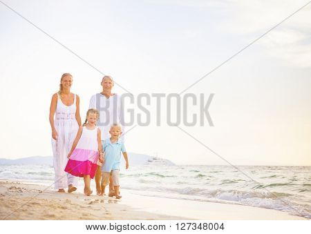 Summer Beach Family Fun Concept