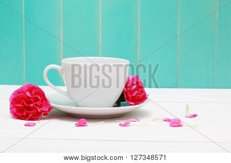 Coffee Cup With Pink Carnations