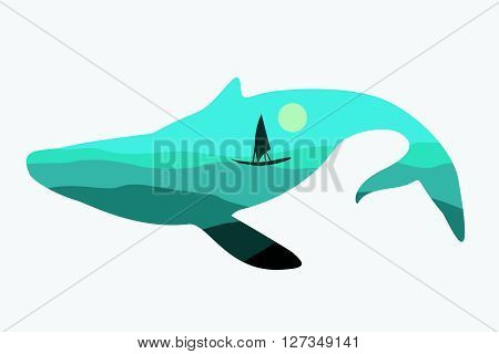 Vector blue whale isolated on white background. Whale with image of the sea horizon with a ship.