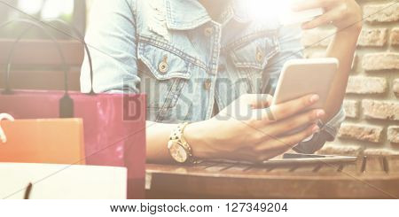 Woman Browsing Mobile Phone Devices Concept