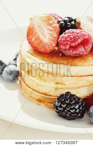 Yummy pancakes on the table