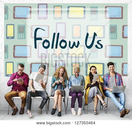 Follow Us Communication Connection Friends Concept