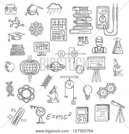 Physics, chemistry and astronomy sketch icons for education and science design with microscopes, laboratory flasks, books, models of DNA, atom, molecule and earth magnetic field, scientist, electrical measuring tools, computer, planets, telescope, graduat
